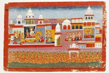 Painting of Vanasura, Shiva and Parvati