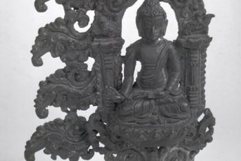 Fragment of halo with a seated Buddha