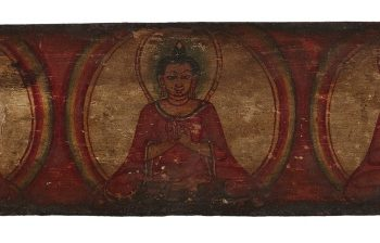 A POLYCHROME WOOD MANUSCRIPT COVER Nepal, 11th Century
