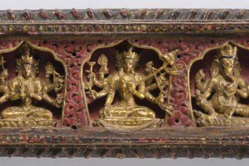 Book Cover with Exterior Carvings of Trailokyavijaya, Sitapatra, and Ganapati