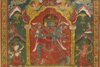 Chakrasamvara and Vajravarahi with Attendants, Mahasiddhas, Ganesha, and Donors