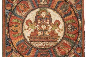 A THANGKA OF THE MANDALA OF MOON-GOD CHANDRA