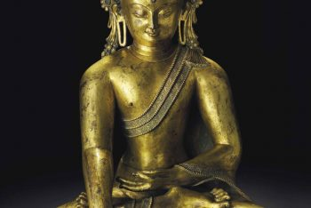 A large and important gilt bronze figure of Buddha