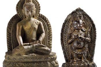 SHAKYAMUNI BUDDHA STATUE IN GRAY STONE