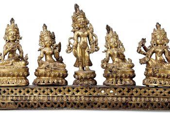 A GILT-BRONZE GROUP OF FIVE BUDDHIST DEITIES