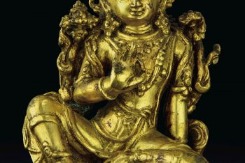 A GILT-COPPER FIGURE OF INDRA