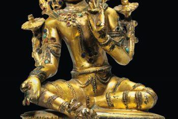 A Gilt Bronze Figure of Green Tara