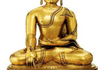 A MAGNIFICENT LARGE GILT-BRONZE FIGURE OF BUDDHA SHAKYAMUNI