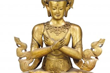 A MONUMENTAL GILT-COPPER EMBOSSED FIGURE OF VAJRADHARA