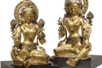 A Pair of gilt copper repousse figures of two Taras
