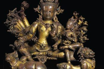 A RARE AND IMPORTANT GILT BRONZE FIGURE OF SHIVA VINADHARA AND PARVATI
