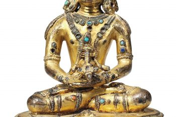 A TURQUOISE AND CORAL-INSET GILT METAL FIGURE OF AMITAYUS