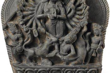 A black stone stele of Durga