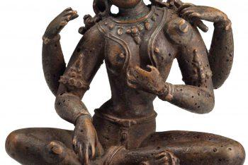 A copper figure of Saraswati