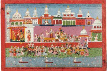 A folio from the Bhagavata Purana: Krishna leaving Dwarka