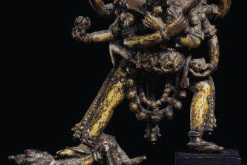 A gilt bronze figure of Chakrasamvara with Vajrayogini