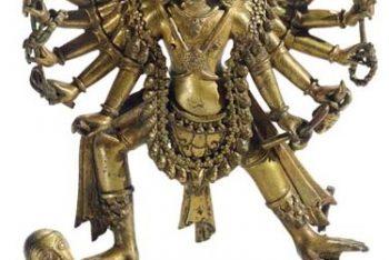 A gilt bronze figure of Hanuman