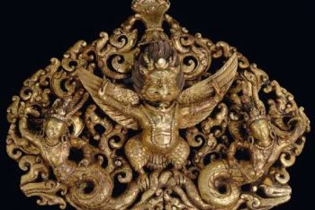 A gilt bronze finial of Garuda