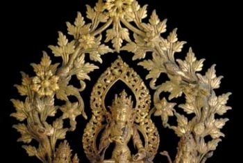 A gilt bronze group with Vajrasattva