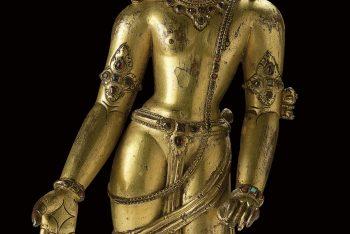 A gilt copper figure of Bodhisattva Avalokiteshvara