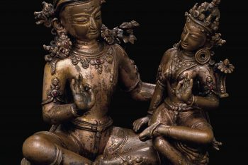 A gilt copper figure of Indra and Indrani