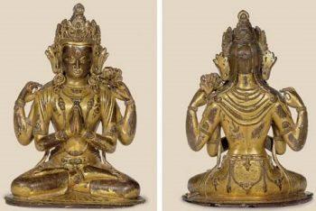 A gilt copper figure of Shadakshari