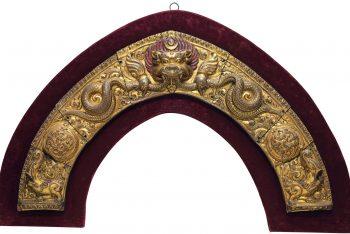 A gilt copper repousse mandorla