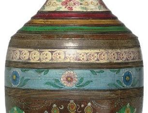 A painted wooden water pot with Heads of Mother Goddesses