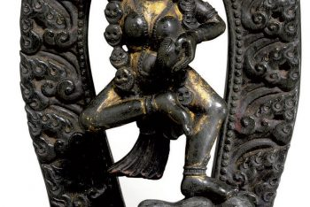 A rare black stone stele of Vajravarahi