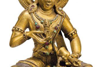 A silver- and copper-inlaid gilt bronze figure of Vajrasattva