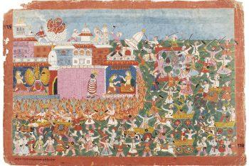 AN ILLUSTRATION FROM THE BHAGAVATA PURANA: KRISHNA RESCUES ANIRUDDHA FROM BANASURA