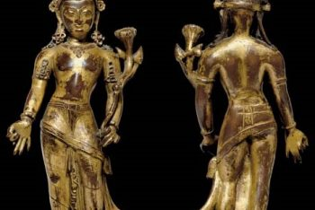 An important gilt copper figure of Padmapani