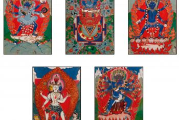 FIVE FRAMED AND GLAZED GOUACHES ON PAPER DEPICTING VARIOUS REPRESENTATIONS OF SHIVA AND KALI