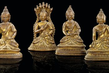 FOUR STATUETTES OF BRONZE BUDDHA