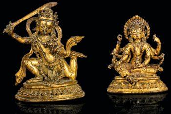 STATUE OF VASUDHARA IN GOLDEN BRONZE
