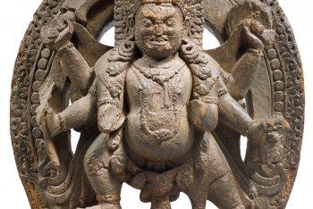 STEEL IN WOOD SCULPT OF BHAIRAVA