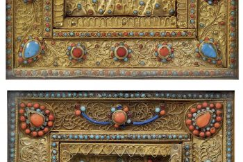 TWO PROFUSELY INLAID GILT-METAL RELIC SHRINES