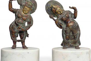 Two bronze figures of attendants