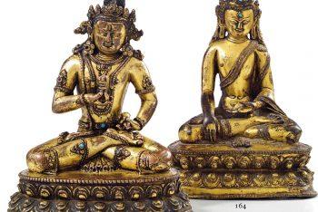 STATUE OF AKSHOBHYA IN GOLDEN BRONZE