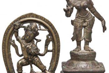 A BRONZE FIGURE OF SIVA SLAYING THE ELEPHANT DEMON GAJASURA