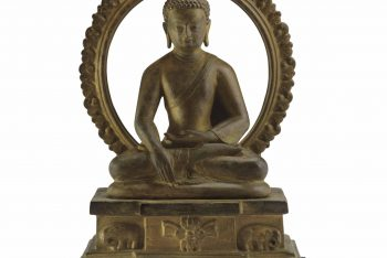 A Bronze Figure of an Enthroned Buddha