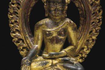 A CAST GILT-BRONZE FIGURE OF BUDDHA