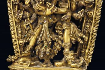 A GILT-BRONZE FIGURE OF CAKRASAMVARA AND HIS CONSORT