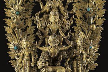 A Large Gilt Bronze Statue of Lokeshvara with Vishnu
