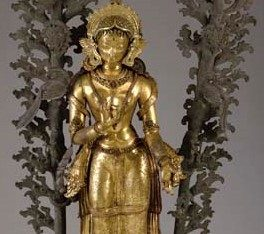 A Large Gilt Copper Repousse Figure of Tara