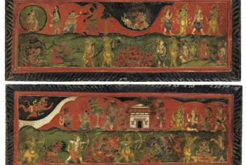 A PAIR OF WOOD MANUSCRIPT COVERS DEPICTING THE RAMAYANA