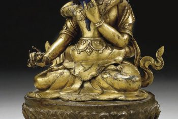 A PARCEL-GILT BRONZE FIGURE OF SAMVARA AND HIS CONSORT