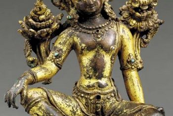 A Small Gilt Bronze Figure of Indra