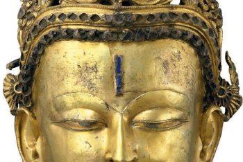 A bronze head of a Bodhisattva