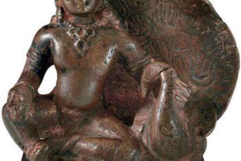 A copper figure of Kumara
